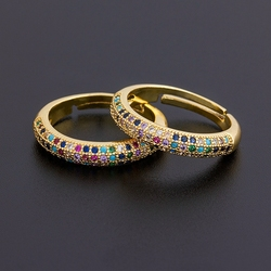 Najwyższa jakość 12 stylów hurtowych prosty regulowany pierścień moda złoty kolor miedź cyrkon tęczy pierścienie grzywny wesele biżuteria