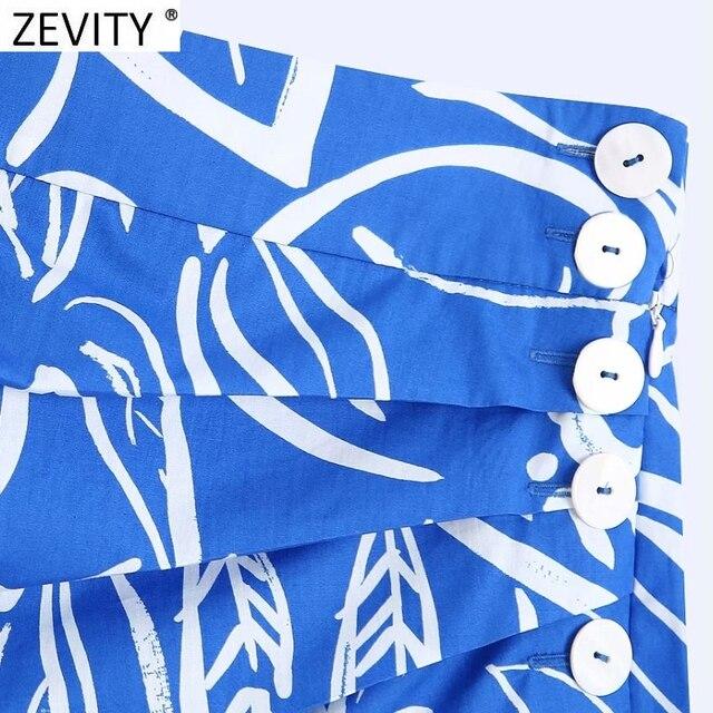 Zevity Women Vintage Pleats Design Floral Print Hem Irregular Skirt Faldas Mujer Female Side Zipper Buttons Mini Vestidos QUN791 3