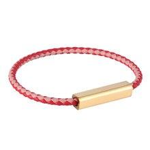 Мужской кожаный плетеный браслет красный розовый золотой магнитный