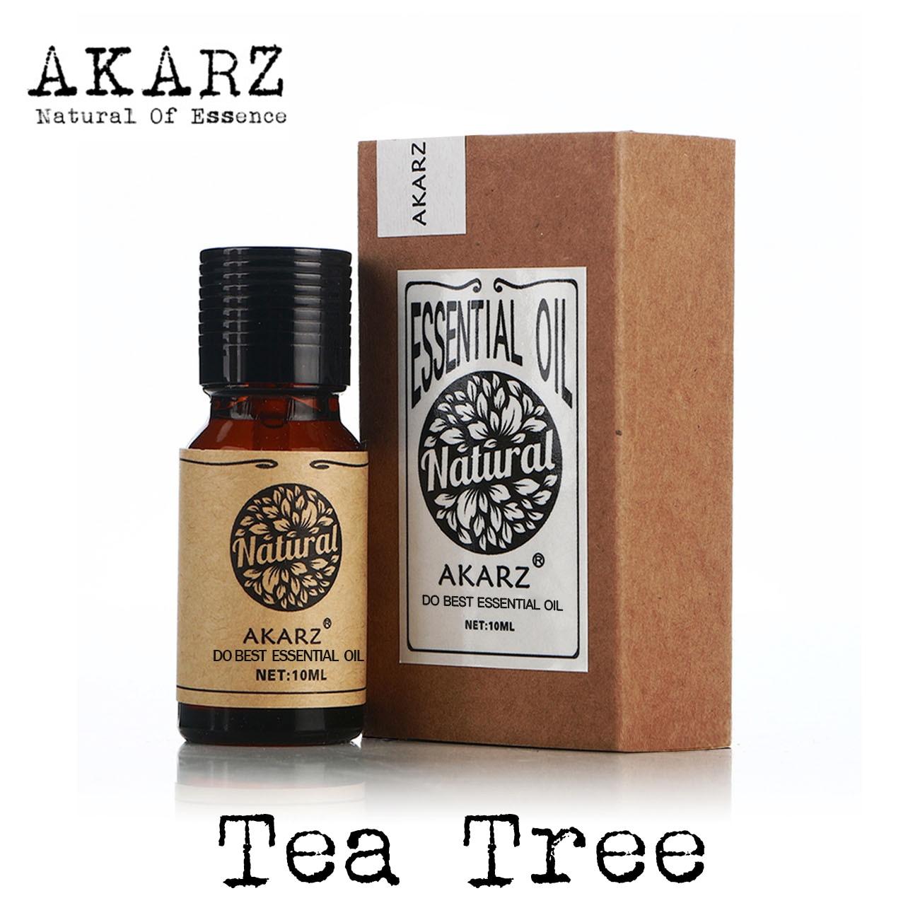 AKARZ famoso marchio tea tree olio essenziale estratti vegetali puri naturali pelle organica massaggio corpo cura olio dell'albero del tè 1