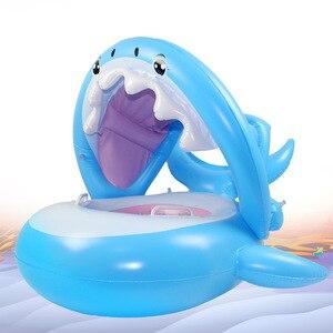 Flotador inflable de piscina de tiburón para bebé, con sombrilla, flamenco, anillo de natación, asiento seguro, juguetes de agua, círculo infantil