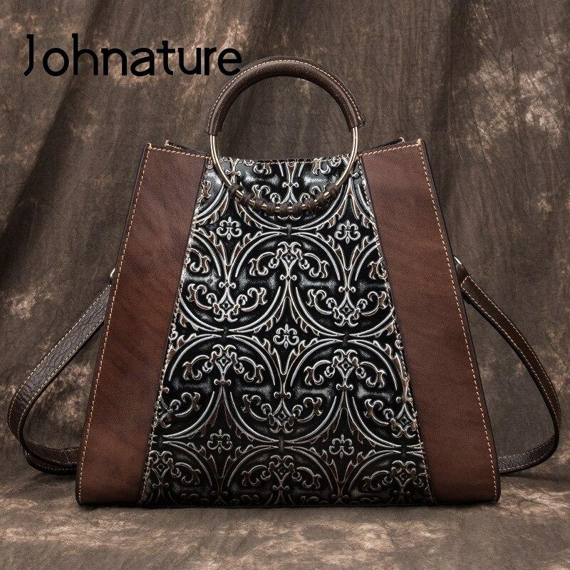 Johnature Vintage Large Capacity Luxury Handbags Women Bags 2020 New Handmade Embossing Cowhide Floral Shoulder & Crossbody Bags