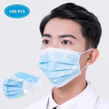 100PCS 3 Layers Mouth Mask Anti Dust Face Mask Carbon Filter Windproof Mouth-muffle Bacteria Proof Flu kind for Personal Health