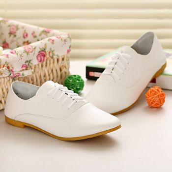 2019 Spring women oxford shoes ballerina flats shoes women genuine leather shoes moccasins lace up loafers white shoes 569 1