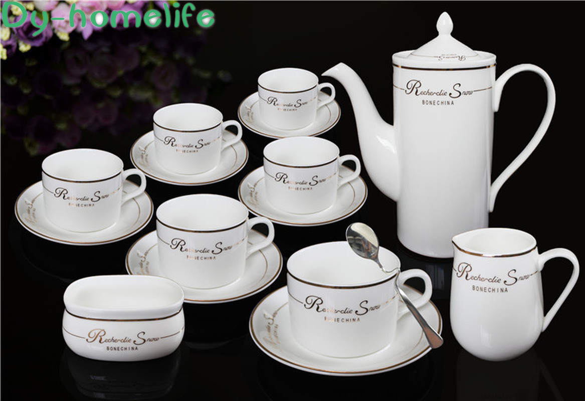 Nordic 15 piece Gold and Silver Edge Letters Ceramic Tea Set Pot Cup Saucer Household Goods Coffee Teahouse Restaurant Coffee|Teaware Sets| |  - title=