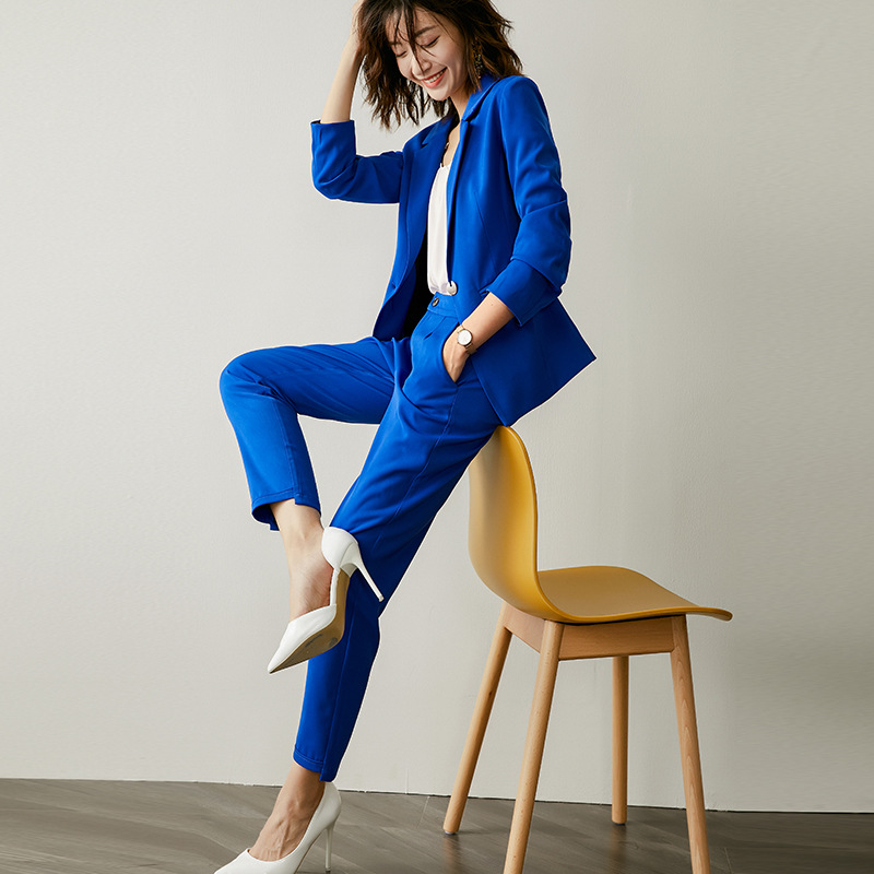 Autumn And Winter Professional Women's Suits High Quality Suit Pants Two-piece Suit Temperament Slim Long Sleeve Blue Blazer