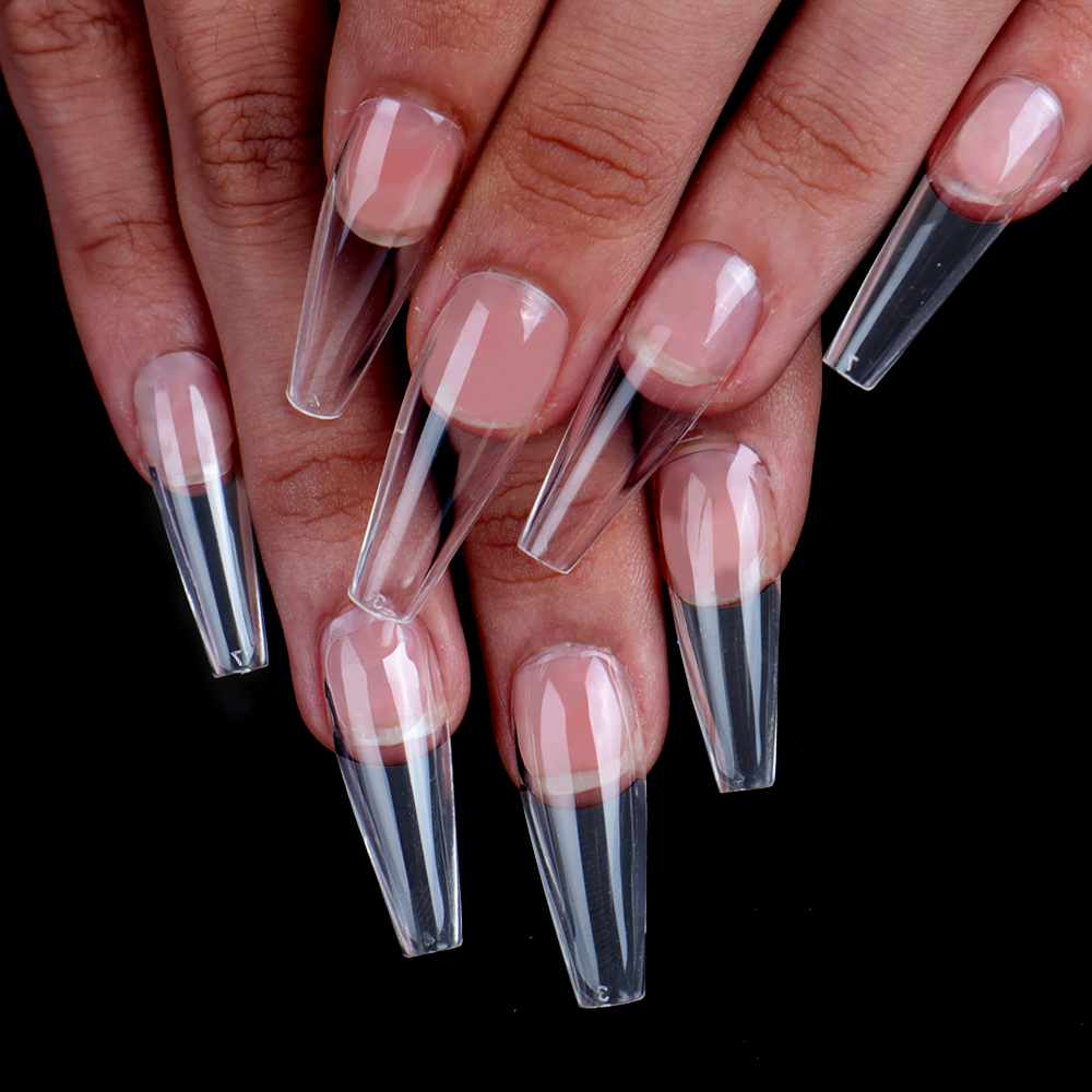 NEW Long Nail tips Full Cover Clear Stiletto Coffin False Nail Press on Nails Long Ballerina Nails 100pcs box