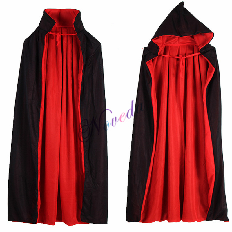 Red Black Witch Vampire Capes Halloween Cloak Hooded Kids Adult Costumes For Men Women Female Girls Boys