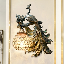 America Vintage Peacock Wall Lamp Modern Creative Resin Led Sconce for Living Room Industrial Decor Corridor Wall Sconce Lamp