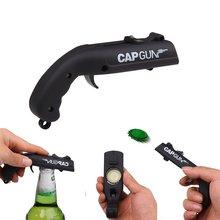 Criativo bebida saca-rolhas tampa voando lançador garrafa portátil arma ferramenta barra de cerveja abertura em forma tampas atirador