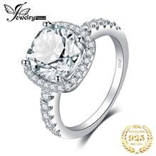 JewelryPalace 3ct CZ Halo אירוסין טבעת 925 טבעות כסף סטרלינג לנשים יום נישואים טבעת חתונת טבעות כסף 925 תכשיטים