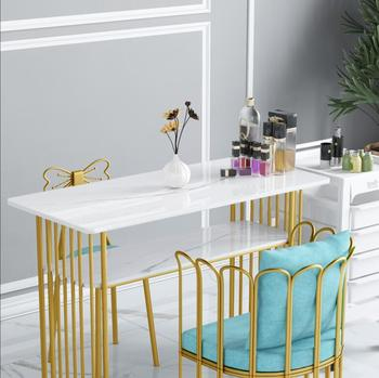 Stół do Manicure i zestaw krzeseł marmurowy blat piękno pojedynczy i podwójny stół do manicure prosty nowoczesny stół żeliwny tanie i dobre opinie Andessoer CN (pochodzenie) Salon mebli Stół paznokci Meble sklepowe