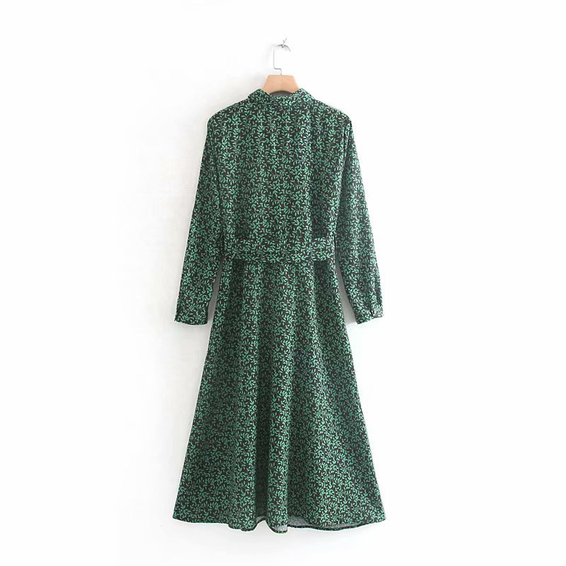 HiloRill Women Print Long Shirt Dress With Belt Long Sleeve Turn Down Collar Office Dresses Floral Printed Long Dress Vestidos