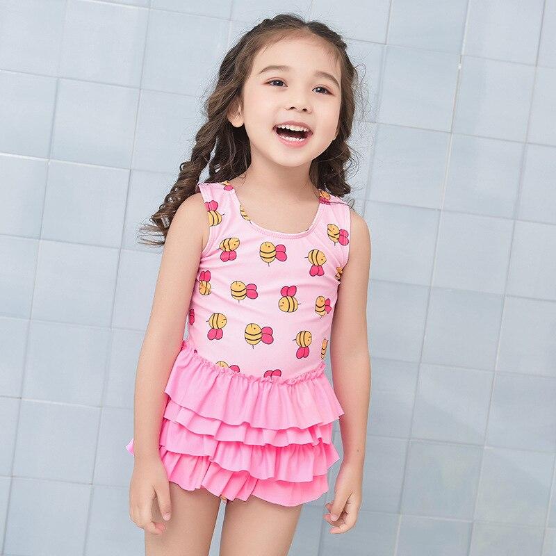 Korean-style New Style CHILDREN'S Swimwear Baby GIRL'S Girls Small Bee Sleeveless One-piece Swimwear Fashion New Style Bathing S