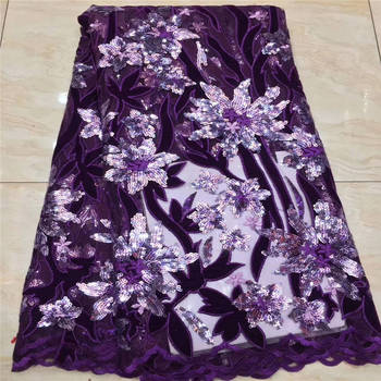 New arrival sequence African french net glitters Nigerian embroidered Swiss African tulle mesh tulle sequins lace fabric