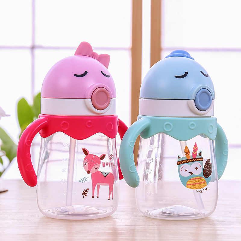 2019 การ์ตูนเด็ก Straw Sippy ถ้วย Pp ถ้วยพลาสติกนำจับเด็กเครื่องดื่มถ้วยแบบพกพาอนุบาลดูดซึมน้ำถ้วย Biberon