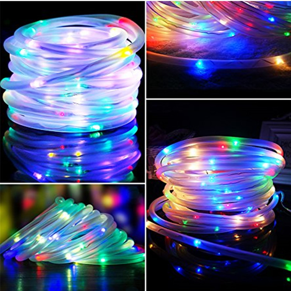 100 LED String Lights Fairy Christmas Lights Outdoor Waterproof Rope Tube Solar Lamp Garland Party Wedding Holiday Decoration
