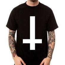 Inverted Cross Usa T Shirt ANTI CROSS SATAN goth metal punk indie harajuku men t-shirt camiseta short sleeve Summer Tees sbz5128