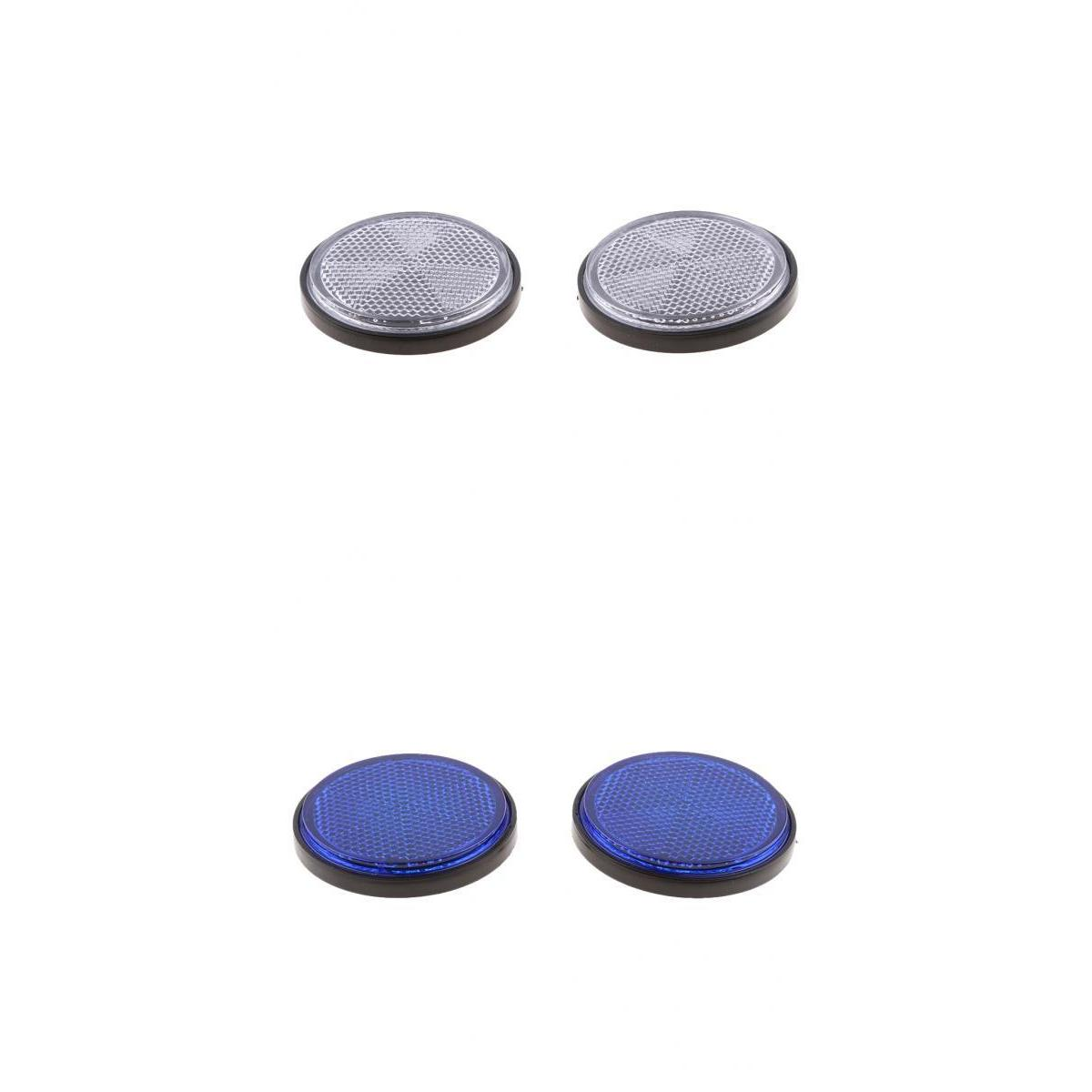 Silver & Blue Round Reflectors Reflective Universal For Motorcycle Dirt Bike