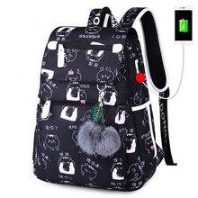 school bags for girls female laptop backpack usb backbag children backpacks cute cat book bag pack