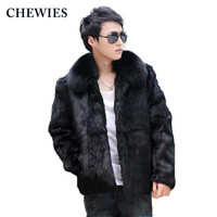 Men's Real/Genuine Leather Jacket Autumn Winter Fur Coats Men Whole Skin Natural Rabbit Coat Outerwear With Real Fox Fur Collar