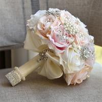 1 Bundle Silk Artificial Rose Flower Wedding Bride Bouquet Rose Flower Fake Rhinestone Crystal Bride Holding Flowers