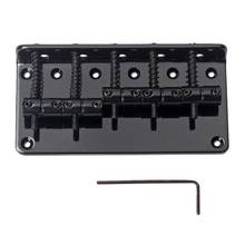 5 String Vintage Style Bass Hardtail Bridge for Precision Jazz Bass Top Load Upgrade,Black