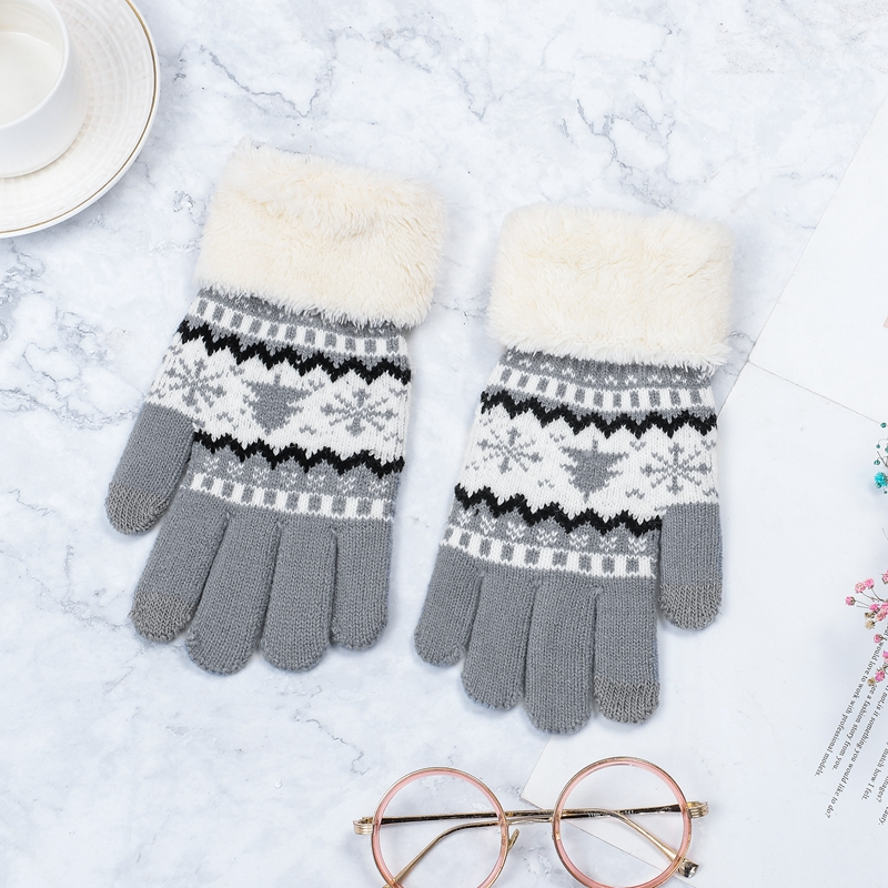 Knitted Gloves Women Winter Full Finger Mittens Female Vintage Christmas Tree Snow Thicken Touch Screen Ladies Gloves Warm Luvas