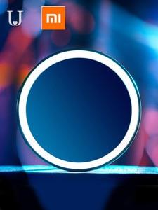Image 2 - HD مرآة تجميل مع لمبة ليد LED اللون الأزرق ضوء مرآة لمستحضرات التجميل مصغرة المحمولة التحكم باللمس الاستشعار مرآة للماكياج الجمال