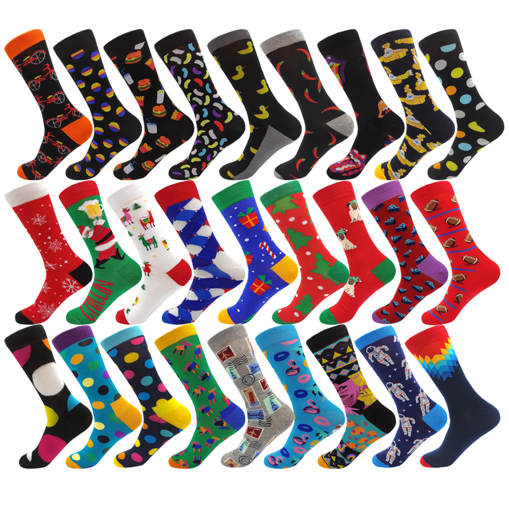 Art Street Fashion Hip Hop Cotton Mens Amd Women Socks Harajuku Christmas Novelty Happy Duck Dot Spaceman Gifts For Men Socks