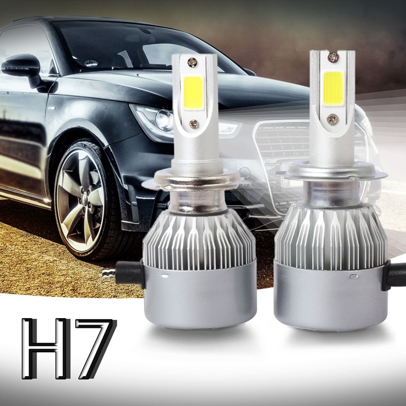New 2pcs C6 LED Car Headlight Kit COB H7 36W 7600LM White Light Bulbs