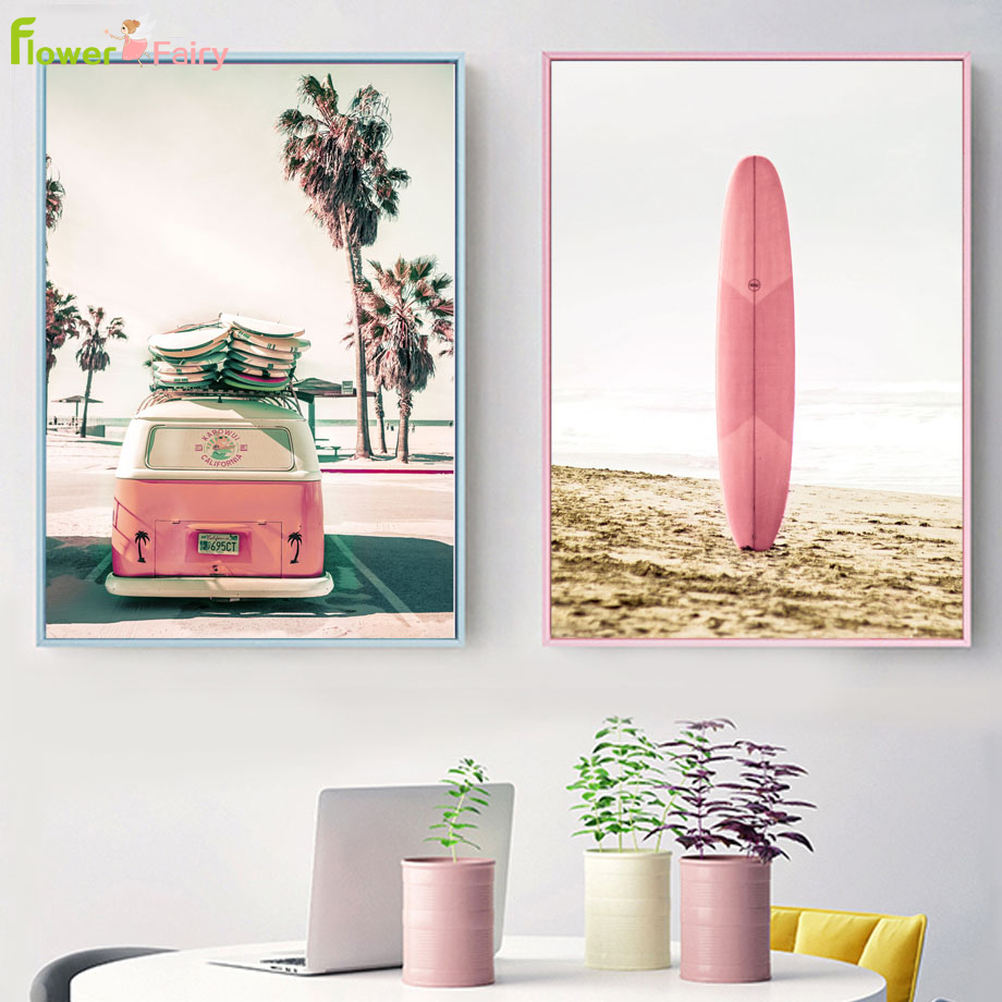 Seascape Seaside Surfing Wall Art Canvas Painting Surfboard Bus Nordic Poster Beach Wall Pictures For Living Room Unframed in Painting Calligraphy from Home Garden