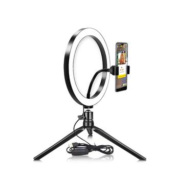 Novelty USB Dimmable LED Selfie Ring Light Cellphone Photography Lighting With Tripod For YouTube Makeup Video Live Studio Light photography dimmable 7 inch led selfie ring light youtube video live photo studio 2800 5500k camera light usb plug with tripod