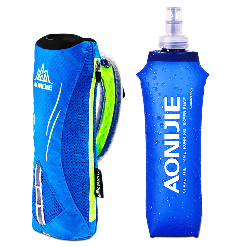 Waterpoof Hand-held Sport Kettle Pack Hydration Bag Soft Plastic 500mL Bottle Handheld For Outdoor Sports Running Hiking Cycling