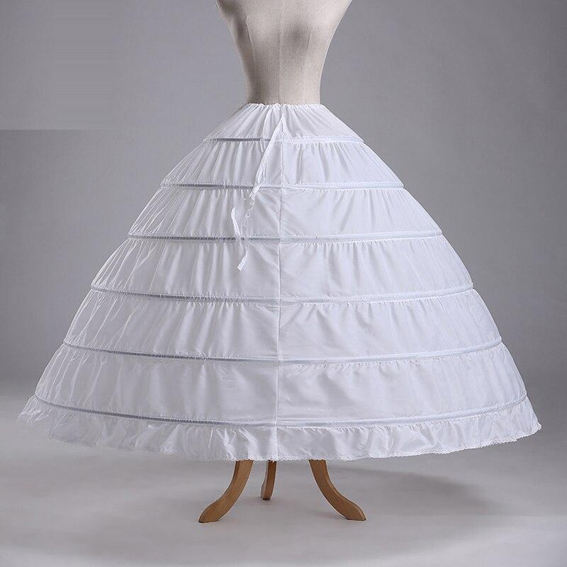 Wedding Accessories Hot Sale 6 Hoops Ball Gowns Puffy Wedding Petticoat Marriage Gauze Skirt Crinoline Underskirt