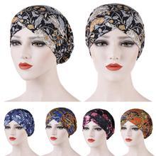 Neue Mode Frauen Gedruckt Schlaf Nacht Kappe Hut Damen Haar Verlust Abdeckung Kopftuch Turban Beanie Bonnet Islamischen Muslimischen Headwear Caps