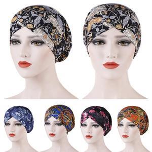 Image 1 - New Fashion Women Printed Sleep Night Cap Hat Ladies Hair Loss Cover Headscarf Turban Beanie Bonnet Islamic Muslim Headwear Caps