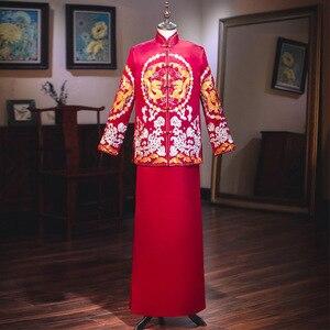 Image 1 - Terno Noivo Colete Gravata настоящий костюм Xiuhe для мужчин 2020 новая одежда для жениха китайские женатые мужчины предлагают великолепное платье костюм ветер