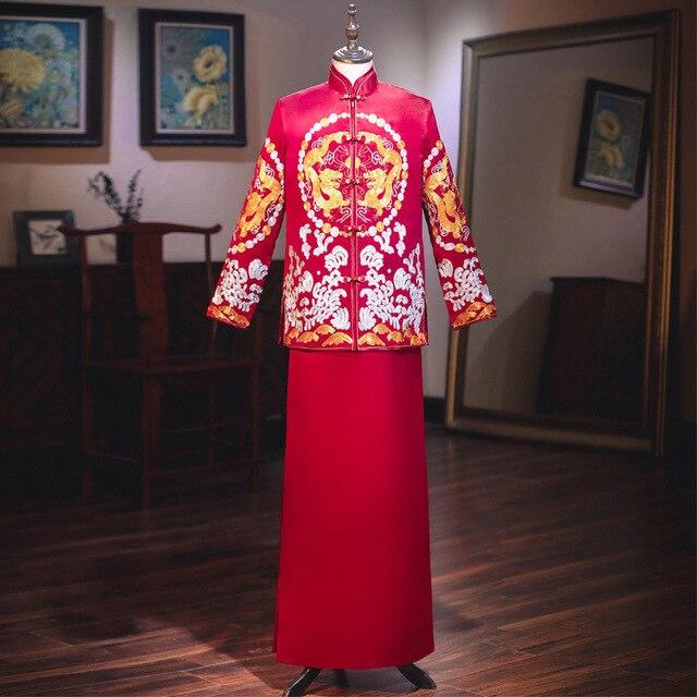 Terno Noivo Colete Gravata настоящий костюм Xiuhe для мужчин 2020 новая одежда для жениха китайские женатые мужчины предлагают великолепное платье костюм ветер