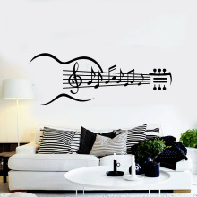 Guitar Instrument Vinyl Wall Decal Guitar Music Notes Bedroom Living Room Stickers Removable Art Home Decoration Wellpaper Z243
