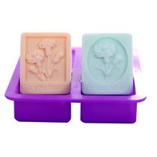 4 wnęka kwiaty silikonowe formy do mydła ręcznie formy silikonowe do mydła prostokąt silikonowe formy do mydła robienie mydła narzędzia tanie tanio 0333 Soap Mold Silicone Flower silicone mold for soap making cake mold candy mold