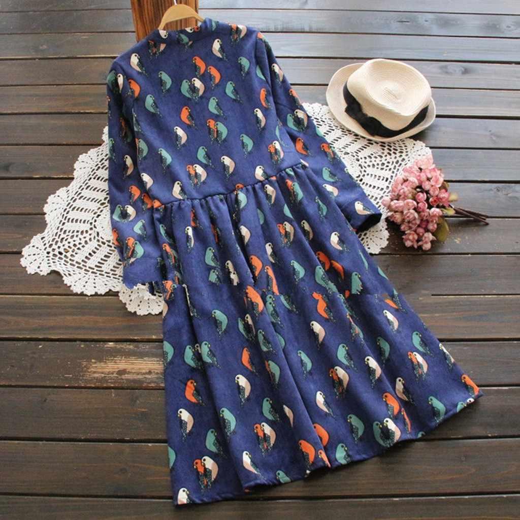 秋の女性のコーデュロイドレス鳥プリントダークブルーナチュラル女性のドレス長袖フロントボタン女性 Dailywear 服