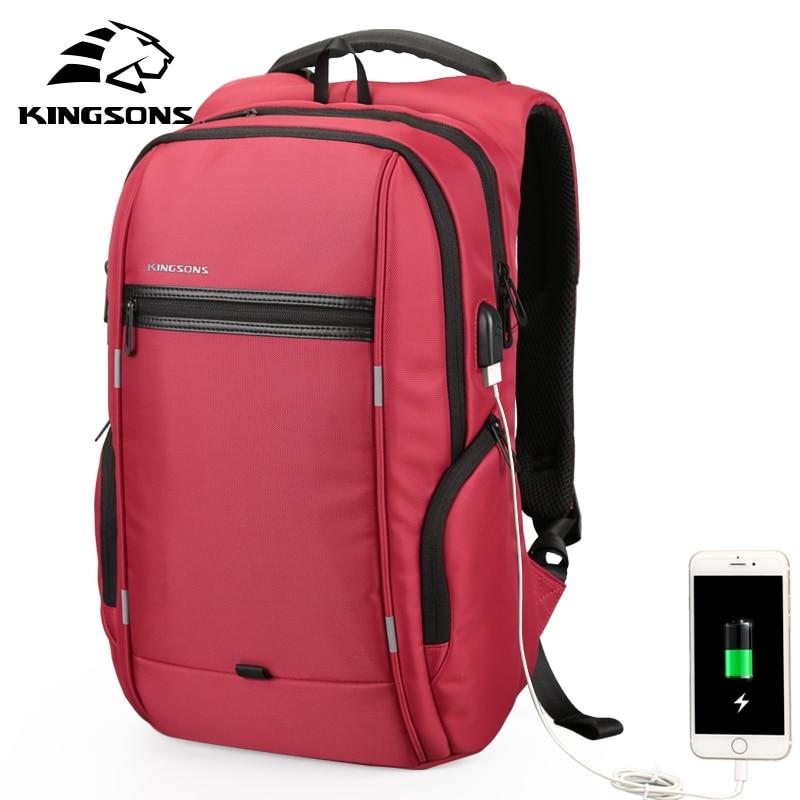 Kingsons Multifunction USB Charging 15 17 Inch Laptop Women Backpacks Fashion Female Mochila Travel Backpack Anti-theft