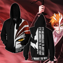 Men and Women Anime Zip Up Hoodies Bleach Hoodie Kurosaki Ichigo 3d Hooded Sweatshirt Cosplay Costumes Harajuku Streetwear