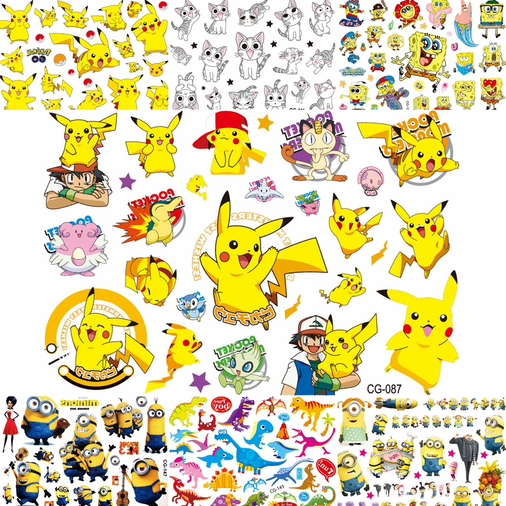 Lovely Cartoon Pikachu Children Temporary Tattoos For Baby Boy Girl Kids Gifts DIY Tatoos Pokemon Body Art Fake Tattoo Stickers