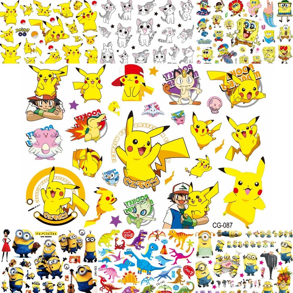 Lovely Cartoon Pikachu Children Temporary Tattoos For Baby Boy Girl Kids Gifts DIY Tatoos Pokemon Body Art Fake Tattoo Stickers