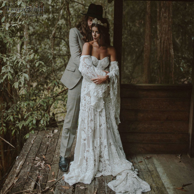 Deep Nude Lining Wedding Dresses Heavy Cotton Lace Bohemian Unique Classical Bridal Gowns Rude Soriee Noivas DW183