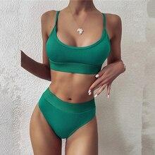 2021 Ribbed Patchwork Swimsuit Sexy High Waist Strap Bikinis Set Summer Beach Push Up Padded Women Bathing Suit Biquini Swimwear