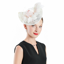 New Design Cambric Hats Flower Feather Fascinators Pink Hat Ladies Wedding Dance Party Elegant Black Women Occasion Show