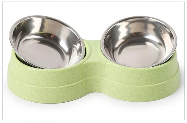 Stainless Steel Double Dog Bowl Kitten Food - Water Feeder  6